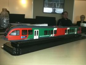 Swiss-based Stadler brought a model of one of their train car options.