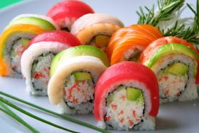 The 'Rainbow Roll' provides the diner with an excellent combination of flavor, texture and color