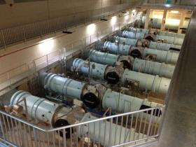 Eight UV reactors are used to disinfect water during the filtration process at the Greater Cincinnati Water Works.