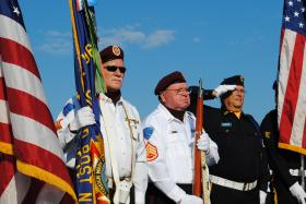 Military Honor Guard members during a recent ceremony welcoming the traveling Vietnam Wall memorial.