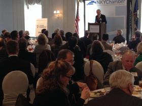 Governor Steve Beshear, speaking at a Northern Kentucky Chamber of Commerce luncheon Wednesday, told business leaders not to panic or be up in arms when a bridge financing report comes out later this month.