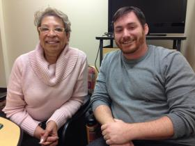 (from left) Dr. Nancy Boxill-coordinator of the MLK specialization at the Union Institute and University and PhD student John Soden.