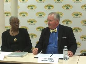 USDA Food & Nutrition Service Administrator Audrey Rowe with Freestore Foodbank President Kurt Reiber.