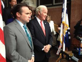 (from left) Cincinnati Mayor John Cranley and John Barrett, CEO of Western Southern and unofficial head of the local committee.