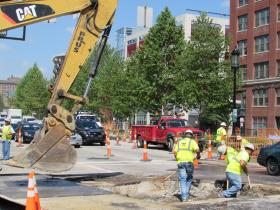 Crews will be laying a section of curved streetcar track from Thursday evening through Monday morning.