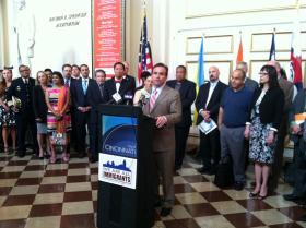 Cincinnati Mayor John Cranley introducing the Task Force on Immigration at Music Hall.