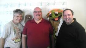 (l-r) Terrence Burke (Wump Mucket Puppets); Jim Stump; Sean Mette (Madcap Puppets)