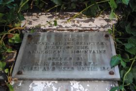 This plaque was placed in 1931, marking the cemetery as the oldest Jewish burial ground west of the Alleghenies.