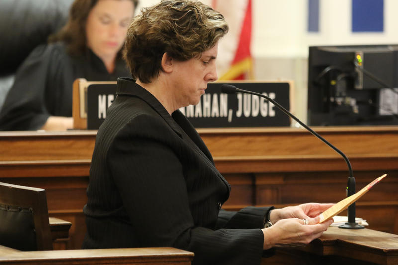 Hamilton County Deputy Coroner Dr. Karen Looman testifies in the fourth day of witness testimony in the murder trial of former University of Cincinnati police officer Ray Tensing.