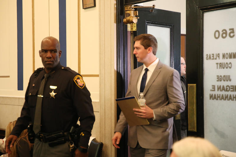 Former University of Cincinnati police officer Ray Tensing walks into the courtroom on the day of closing arguments in his murder trial.