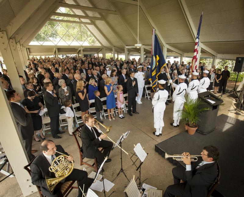 Members of the U.S. Navy Ceremonial Guard from Washington, DC present the Colors during a memorial service celebrating the life of Neil Armstrong.