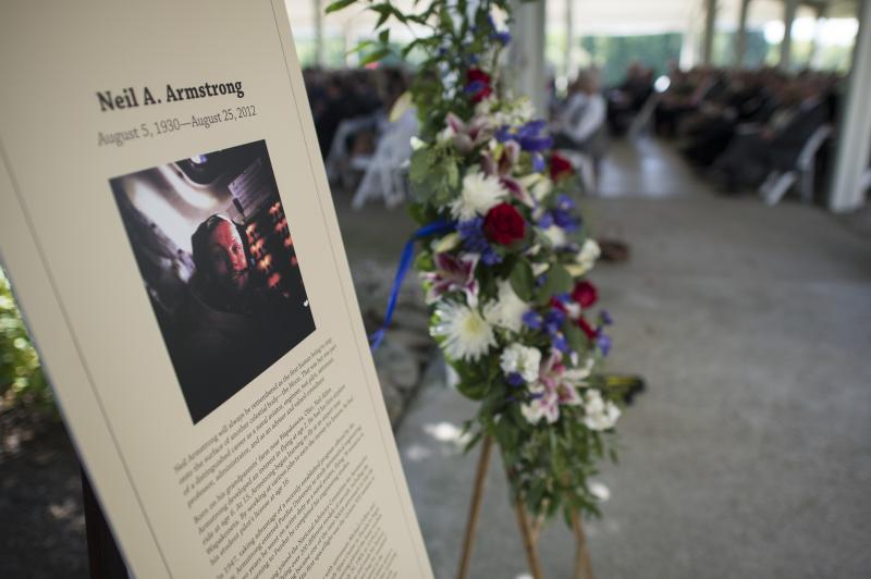 A memorial tribute from the Smithsonian is seen at the entrance of a private memorial service celebrating the life of Neil Armstrong, Aug. 31, 2012, at the Camargo Club in Cincinnati.