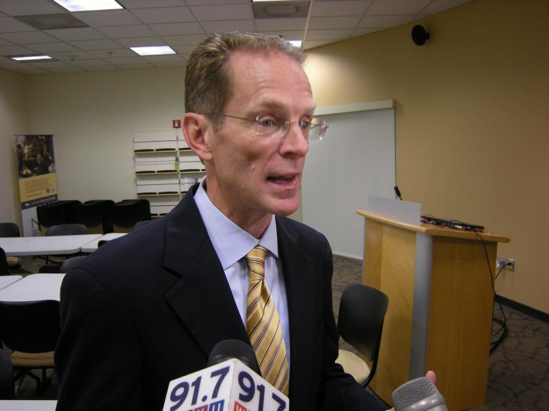 NKU president Geoffrey Mearns speaks to the media
