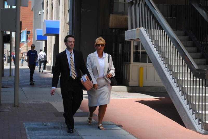 Diana Frey, flanked by her attorney Blake Somers, headed to court in June for sentencing