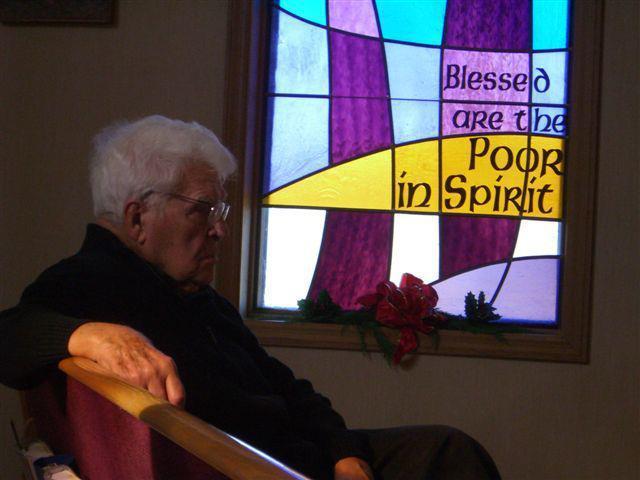 Monsignor Ralph Beiting in Meditation at his Louisa Parish.