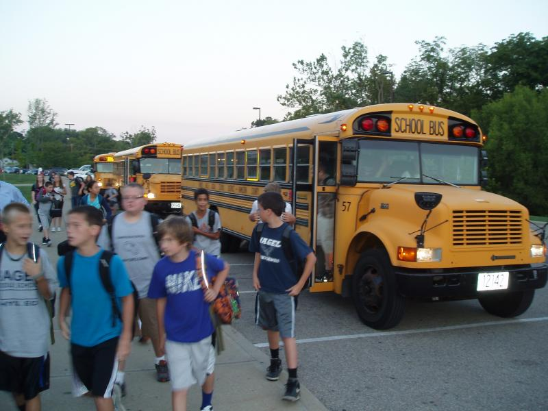 Seventh and eighth graders at Nagel Middle School prepare for their first day. (Forest Hills School District)