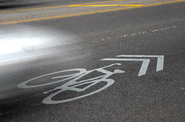 The sharrow symbol is installed within lanes shared by cars and bicycles