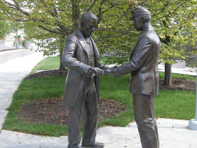A sculpture at the Black Brigade monument at Smale Riverfront Park