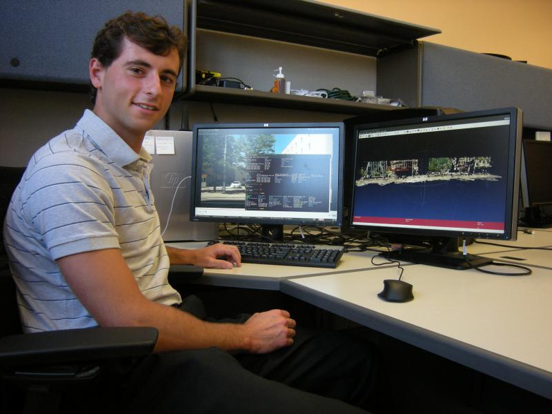 student Yakov Diskin is studying what the robot remembers