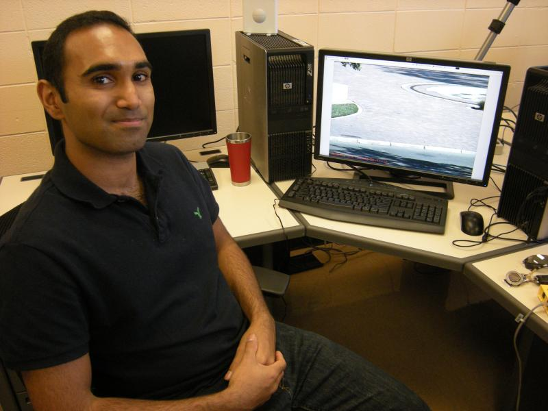 student Binu Nair works on vision recognition