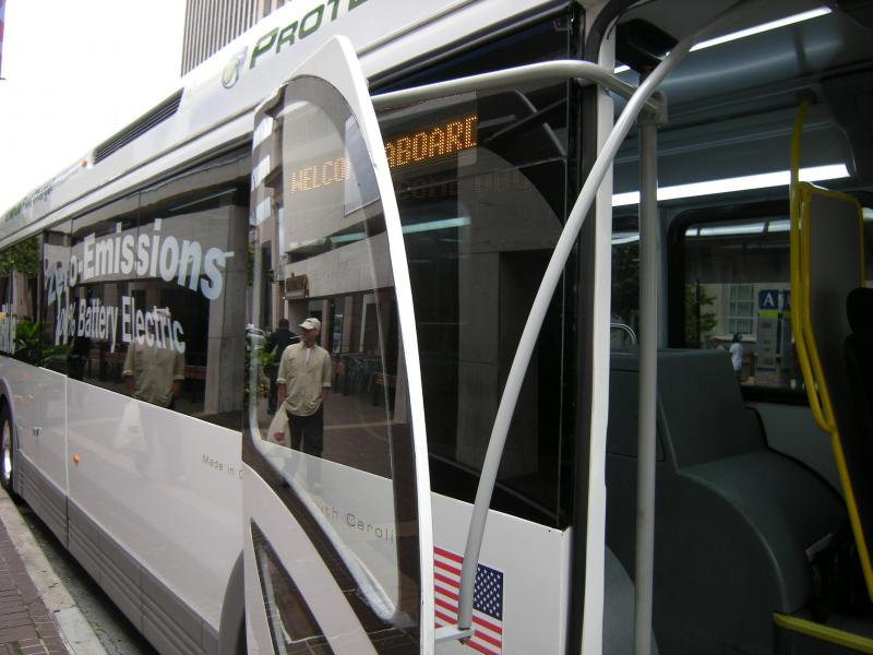 The Proterra EcoRide electric bus makes a stop in downtown Cincinnati