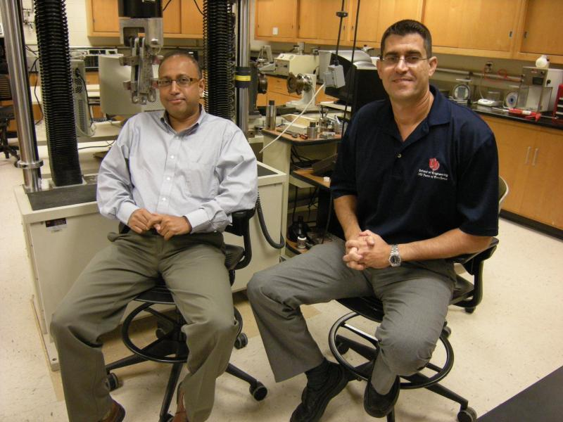 Dr. Rob Banerjee, CEO of Romitech (left) and Elias Toubia, assistant civil engineering professor at the University of Dayton