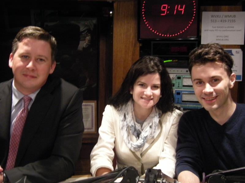 Shawn Hummel, Lindsey Lusignolo and Nathan West in the WVXU studios.