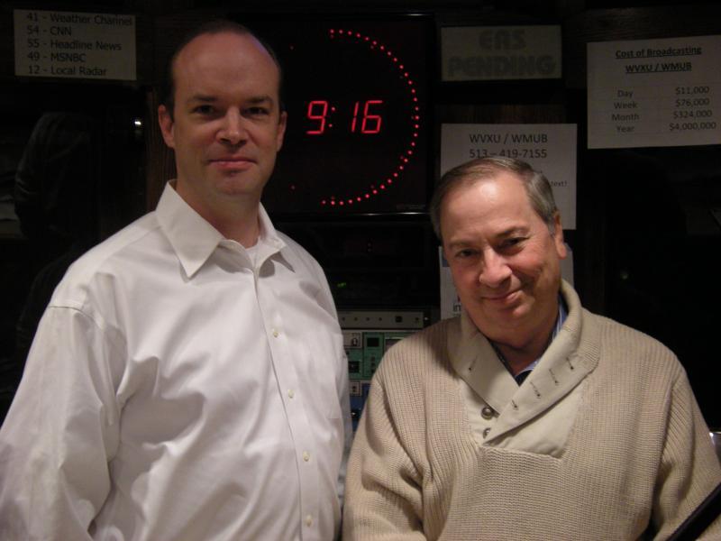 Jonathan Dever and Tim Burke in the WVXU studios