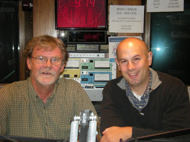 Howard Wilkinson and Dr. Mack Mariani in the WVXU studios.  Dr. Stephen Mockabee joined via telephone.