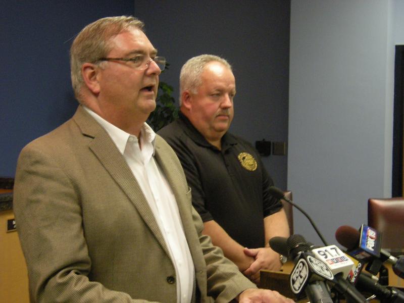 Kenton County Judge Executive Steve Arlinghaus (in brown jacket)