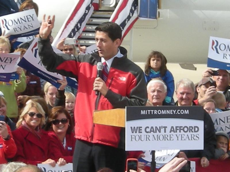 Ryan delivers a short speech at Lunken Airport