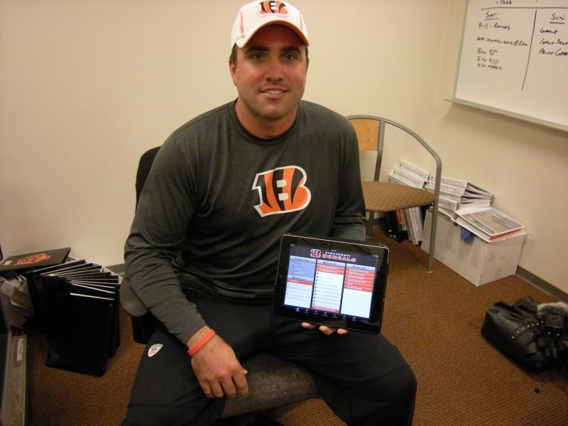 Offensive Assistant Coach Kyle Caskey is the unofficial IT guy for the Bengals, helping coaches and players get up to speed on the new iPad system