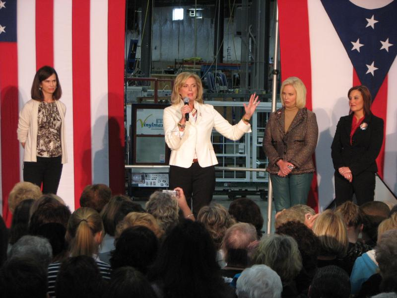 Ann Romney was joined on stage by Jane Portman, Cindy McCain and Ohio Lt. Gov. Mary Taylor.