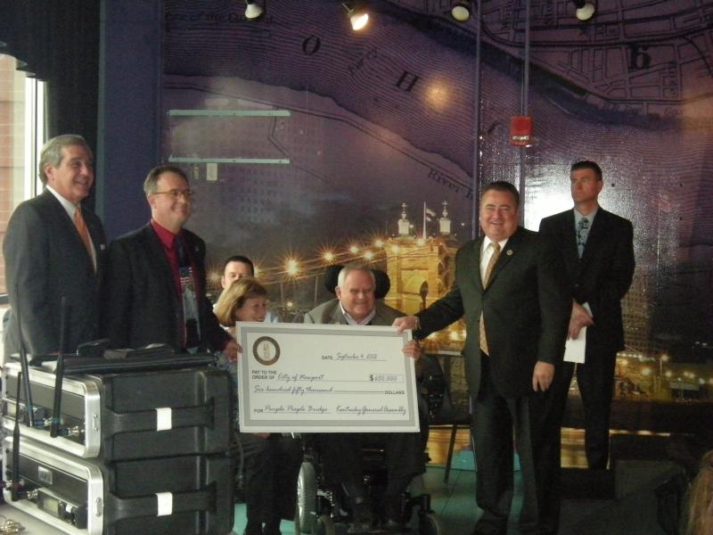 Kentucky Lt. Gov Jerry Abramson (far left) was on-hand for the presentation of funds to study turning the Purple People Bridge into a tourist attraction.