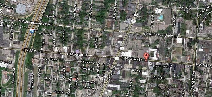 Google map view of McMillan and Taft in Walnut Hills.