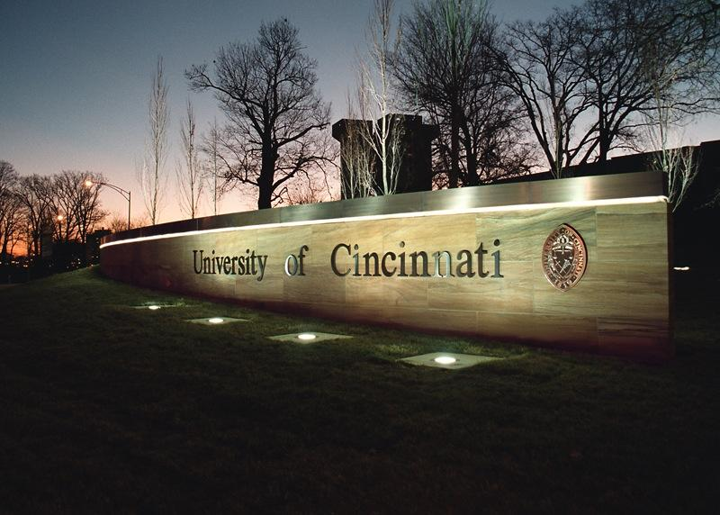 Gateway to the University of Cincinnati at the northwest corner of campus. Crosley Tower is in the background.