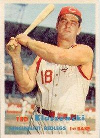 1957 Topps baseball card of Ted Kluszewski with the iconic sleveless jersey.
