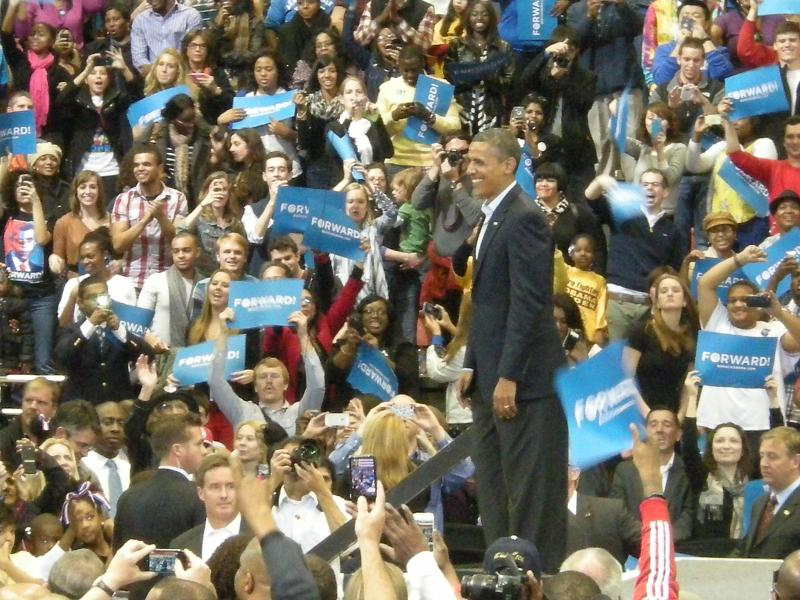 President Obama speaks to a crowd of 15,000 at UC (including 2,000 in an overflow area)