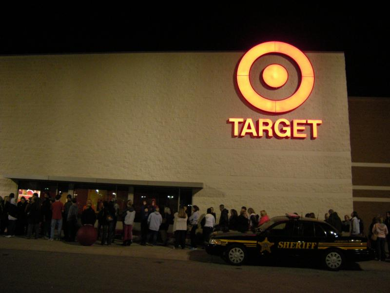 The line stretched around the building at the Cherry Grove Target