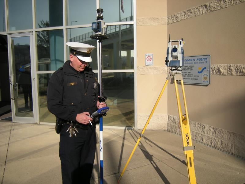 Cincinnati Police Officer Steven Fox demonstrates the Sokkia Total Station
