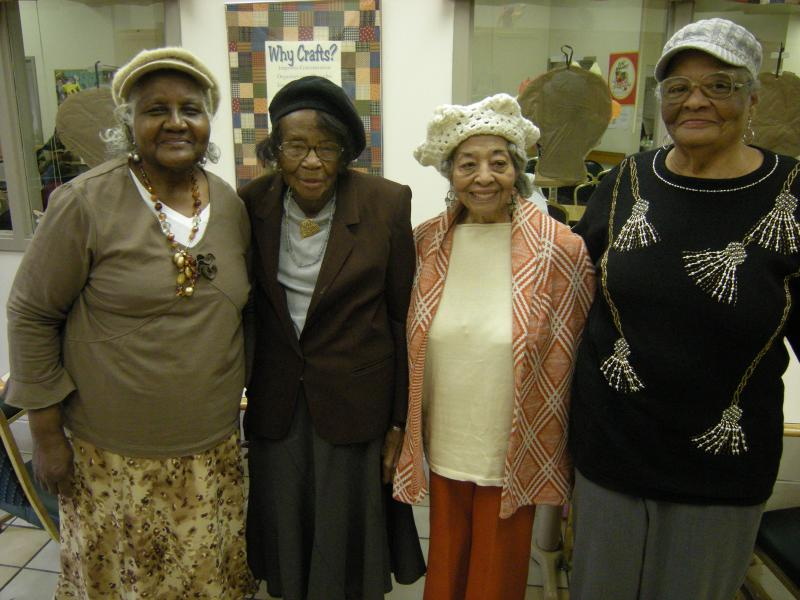These women stay young by keeping busy at the Over the Rhine Senior Center. (L to R) 86 year old Emma Harris, soon to be 102 year old Mattie Walker, 95 year old Louise Williams, and 76 year old Ernestine Jackson