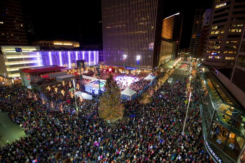 Cincinnati's Fountain Square during the holiday season.