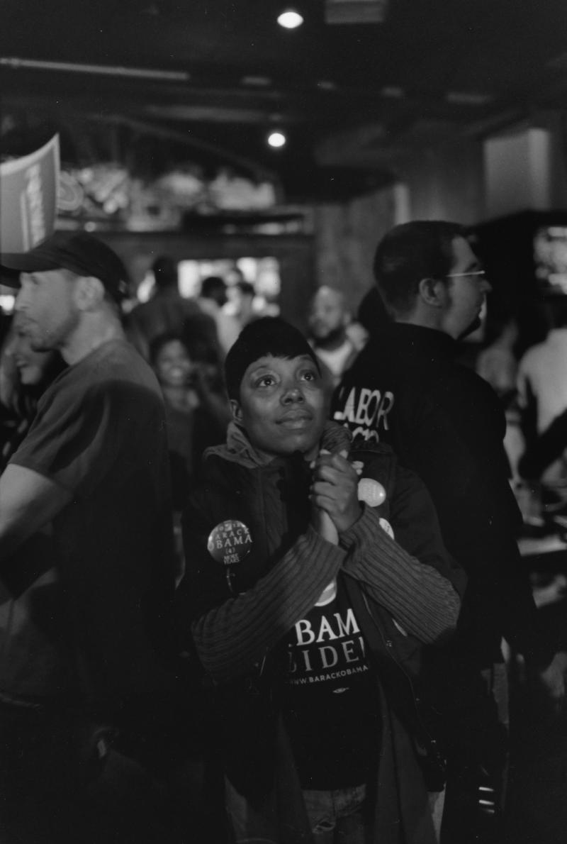 HOPE. Moments before it was announced election night that President Obama won a second term, a supporter at the Hamilton County Ohio Democratic Party celebration at Cincy's in Cincinnati, OH, anticipates a victory.