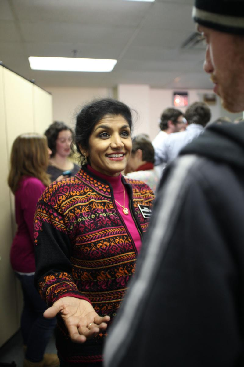 Lakshmi Kode Sammarco talks to a student reporter after being re-elected as Hamilton County coroner.