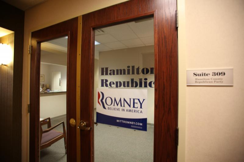 With volunteers and workers at different prectints, the Hamilton County Republican Party Headquarters is quiet on election day.