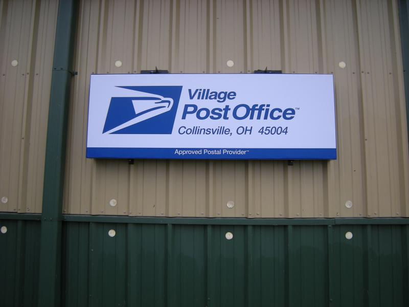 A new Village Post Office sign on the Dunkelberger Lawn and Garden store