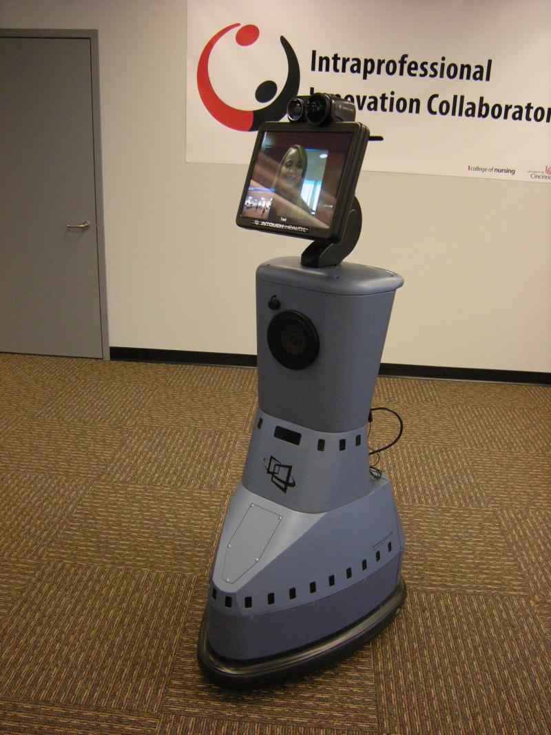 "1.	""Flo-Bot,"" UC's new telemedicine robot, allows doctors and nurses to assess the patient while not in the room."