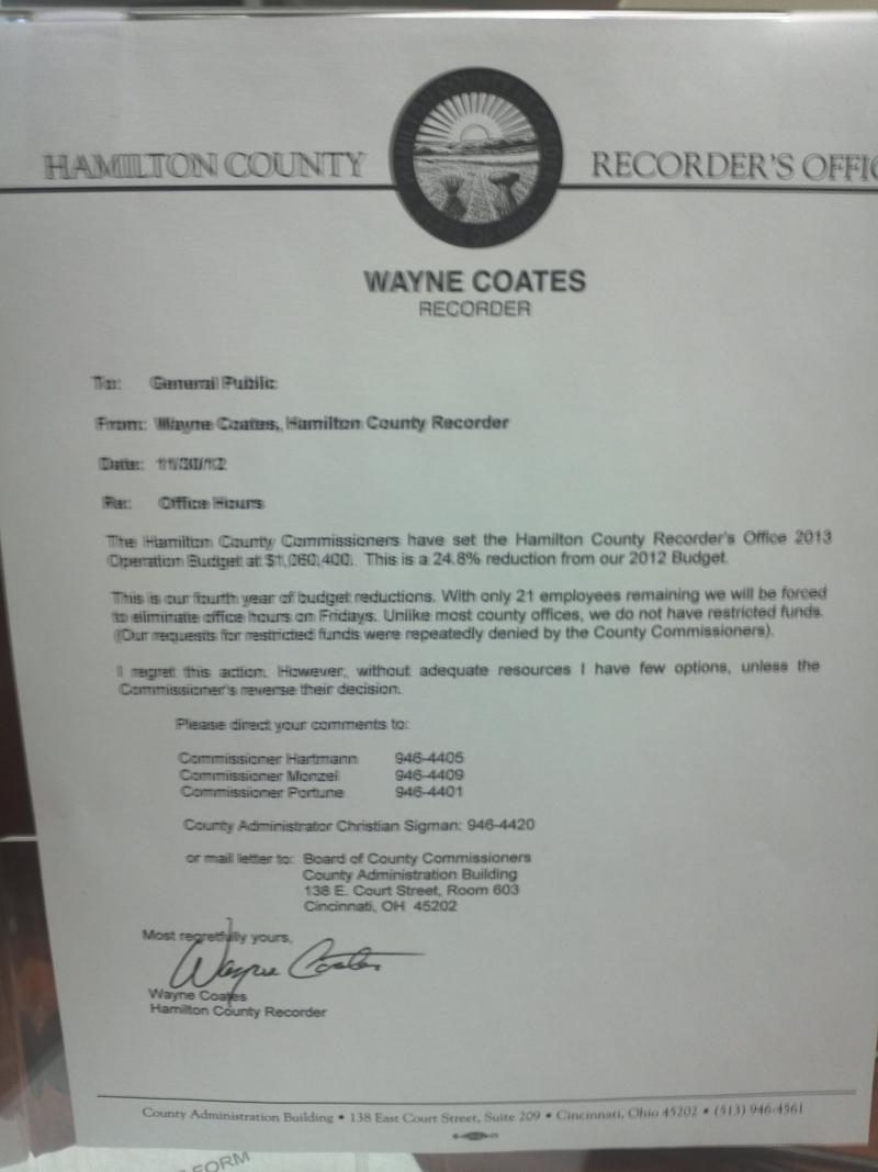 Letter from Recorder Coates to County Commissioners