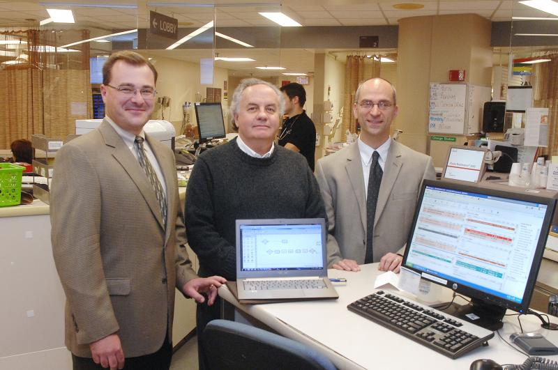 Michael Lyons, MD, David Kelton, PhD, and Michael Ward, MD, in UC Health University Hospital Center for Emergency Care
