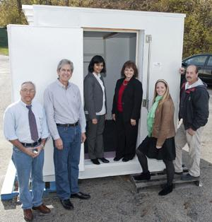 From left, members of the SolerCool collaboration include electrical engineer Steve Sahebjam, John Borchers of SimpliCool, UC student Ruma Dubey, UC's Ilse Hawkins, UC student Lillian Rice, and Phil Baker of SimpliCool.